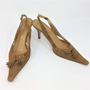 Bettye Muller Heels Sling Back Tan Suede 38 7
